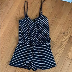 Navy blue and white striped romper